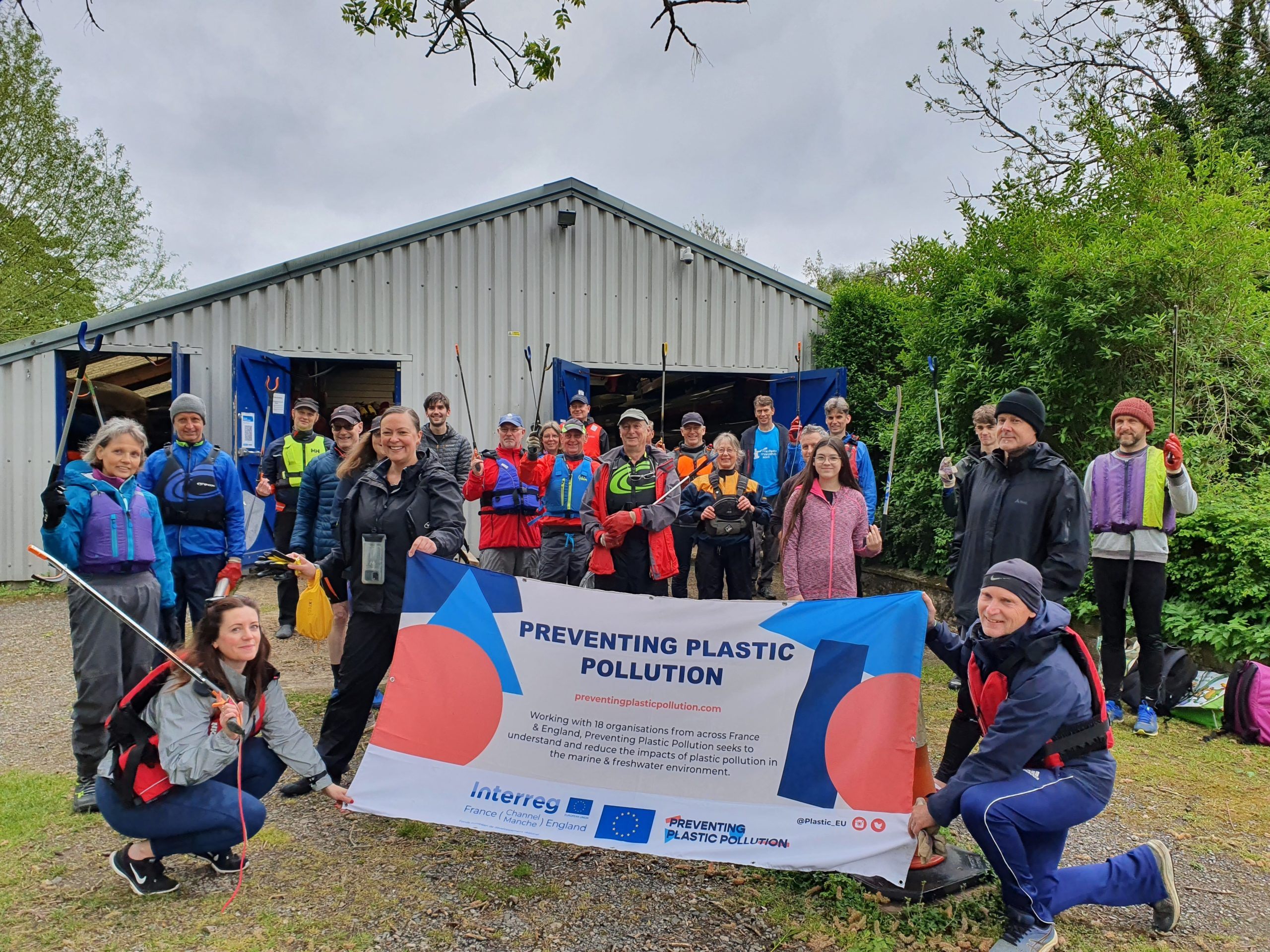 Litter pick organised by members of Tonbridge Canoe Club in Kent, United Kingdom, on the occasion of World Ocean Day 2021.