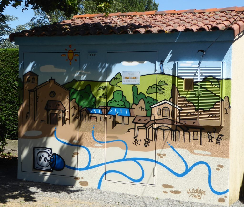 Playful illustration of an energy community concept in a small village.