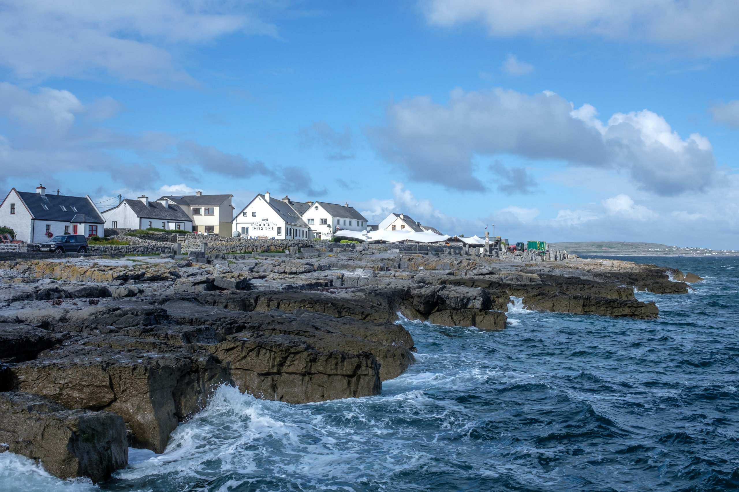 Houses along the coast in the Aran Islands